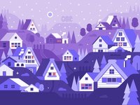 Winter Village Flat Landscape