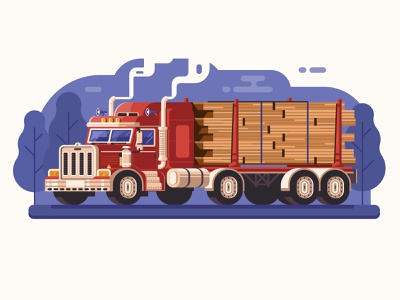American Logging Truck wood american logging cargo lorry truck flat design
