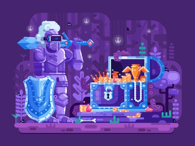 VR Knight hero fantasy concept gaming flatdesign heroic chest treasure treasure chest knight rpg augmentedreality vr