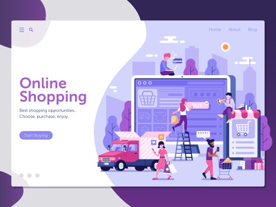 Online Shopping Landing Page buy flat design ui mobile digital store internet commerce online shopping