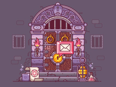 RPG Dungeon Door game design gaming adventure heroic fantasy flat design line art dungeons and dragons concept entrance door dungeon rpg