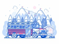 Mountain Ski Resort Shuttle Bus