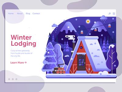 Winter Mountain Chalet mountain chalet cabin banner landing design landing page landing ui landscape illustration house flat design winter
