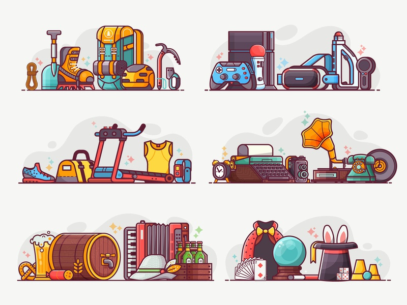 Lifestyles and hobbies. Vol.2 brewery retro professions hobbies vr gaming concept lifestyle line art flat design