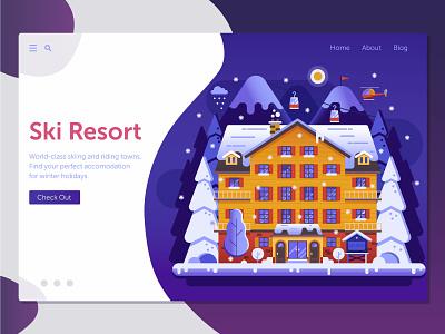 Winter Ski Resort Landing Page hotel landing illustration web mountain ski resort ski flat design concept winter