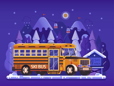 Mountain Ski Resort Shuttle Bus illustration travel winter skibus ski shuttle service resort mountain gradient landscape flat design concept bus banner