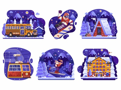 Winter Ski Resort Holidays Icons