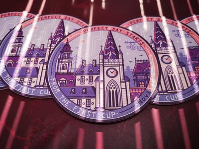 Novi Sad City Coffee Time novisad emblem label coaster serbian city vojvodina flat design line art serbia stickermule sticker novi sad