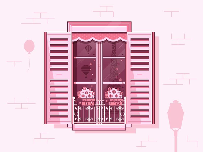 Window to Paris illustratin flat design line art pink romantic vintage shuttered europe window paris