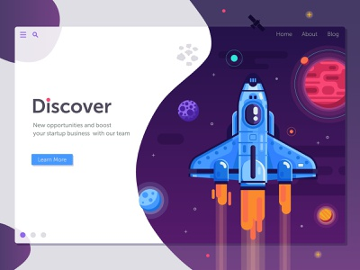 Space Shuttle Startup Banner ui illustration rocket gradient discover launch start up galaxy shuttle space spaceship banner flat design
