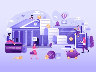 Online Banking Transaction Illustration
