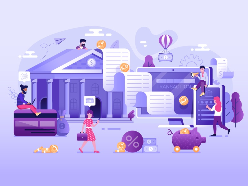 Online Banking Transaction Illustration illustration ui concept payment transaction banking bank online