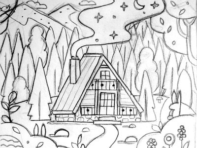 Lonely House in the Woods traditional serbia illustration texturino texture flat design cottage night lonely wood chalet forest wooden house