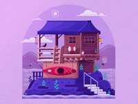 Fisherman Drina House on the River authentic print adventure flat design house illustration textured cabin housing home lodge wooden fisherman house