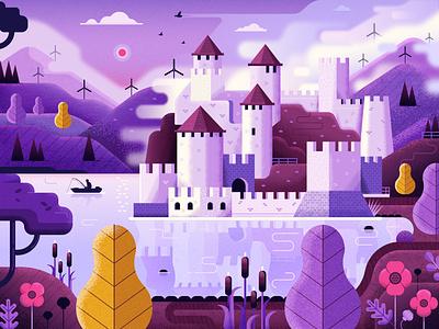 Golubac Fortress River Scene vector texturino flat design texture landscape river fairy tale fortress castle