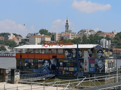 Floating Disco Barge in Belgrade illustration nightlife textured flat design belgrade club nightclub boat barge disco floating