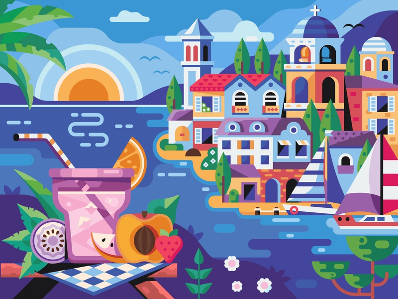 Summer Vibes mobilegame game coloring book game design flat design travel greece town seaside beach glass summertime vacation sea vibes cocktail summer