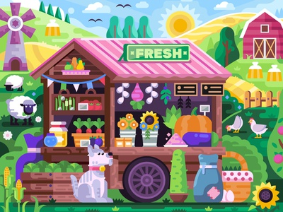 Farm Market Scene mobilegame dog coloring book game game design rural vegetable eco stall kiosk cart market flat design farm