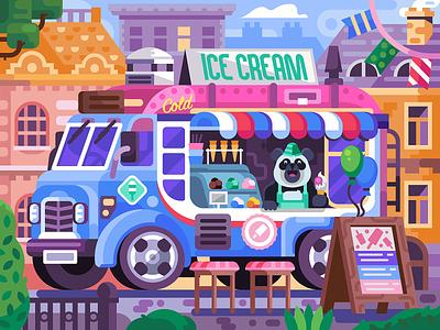 Happy Panda Ice Cream Truck bear panda bear summer ice cream mobile game game design coloring book illustration flat design car iceman panda truck van icecream