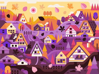 Hello Autumn! gaming game design coloring book mood houses illustration flat scene rural village autumn landscape concept flat design
