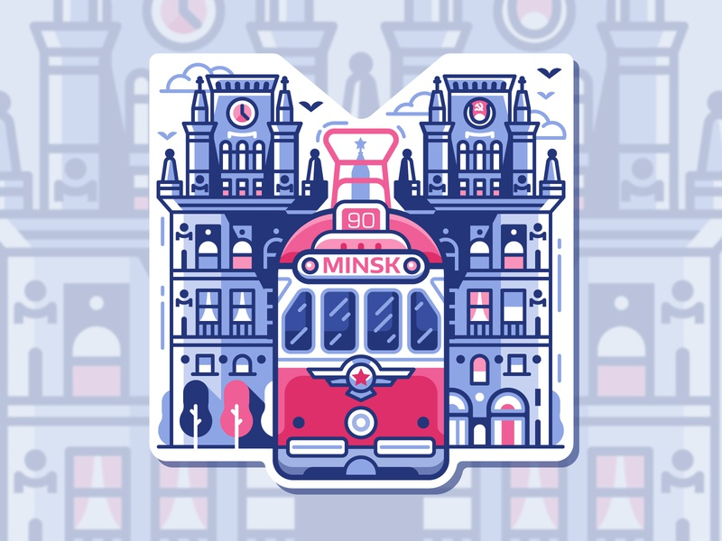 Minsk Historic Tram Sticker emblem icon city branding historic retro tramway tram logo symbol flat design line art belarus sticker gate city minsk