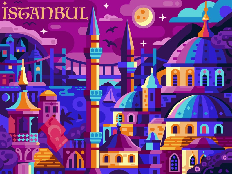 Magic Night in Istanbul landscape flat design game game design coloring book mobile game arabic turkey mosque cityscape night poster city constantinople istanbul