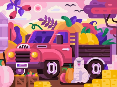Autumn Harvest Truck farmer pumpkin mobile game car gamedesign coloring book concept illustration flat design harvester hay farm truck harvest autumn