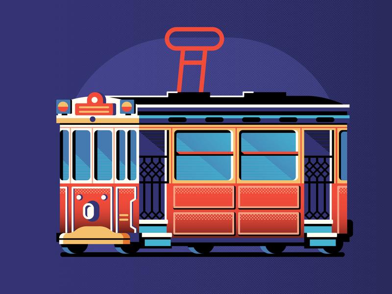 Istanbul Retro Tram city transport flat design retro design old vintage illustration tramway tram red retro istanbul