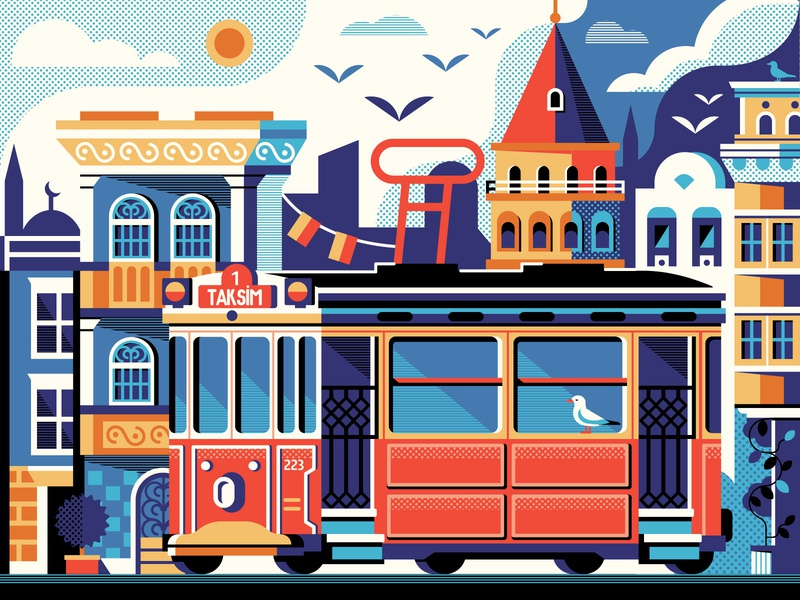 Istanbul Beyoglu District flat design illustration concept galata tower poster scene postcard card street tramway red turkey tower galata beyoglu tram historic istanbul