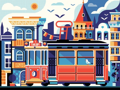Istanbul Beyoglu District flat design illustration concept galata tower poster scene postcard card street tramway red turkey tower galata beyoglu tram historic istanbul