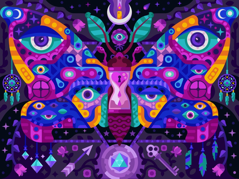 Transcendent Moth flat illustration flat design gaming game design coloring page coloring book mobile game night hawk unalome surreal surrealistic esoteric designs esoteric mystic transcendent butterfly moth
