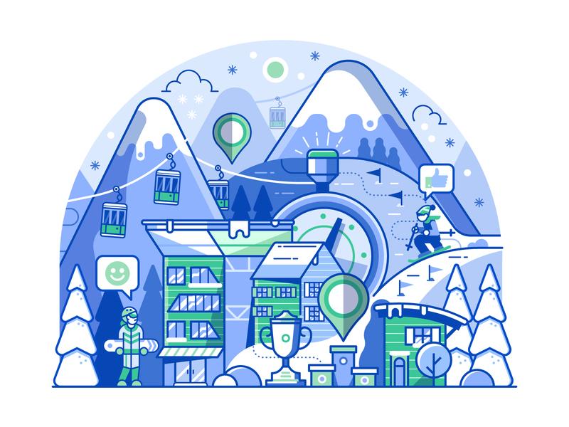 Ski Resort Activities progress competition line art application mobile app skiing mountain resort ski winter sports landscape illustration winter concept flat design