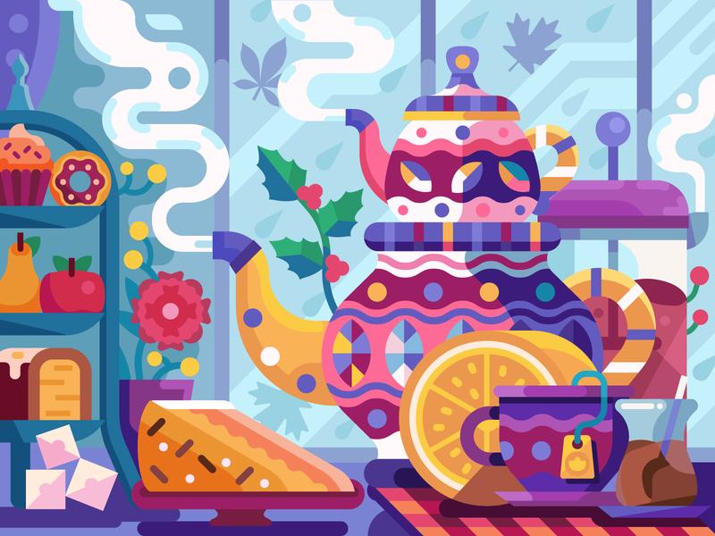 Autumn Tea Party scene cozy mobile game game design coloring book illustration flat design autumn party party pot tea autumn