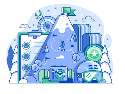 Ski Slopes Progress and Achievements competition skiing mobile app line art winter sports landscape flat design hike winter progress achievements mountain slopes resort ski