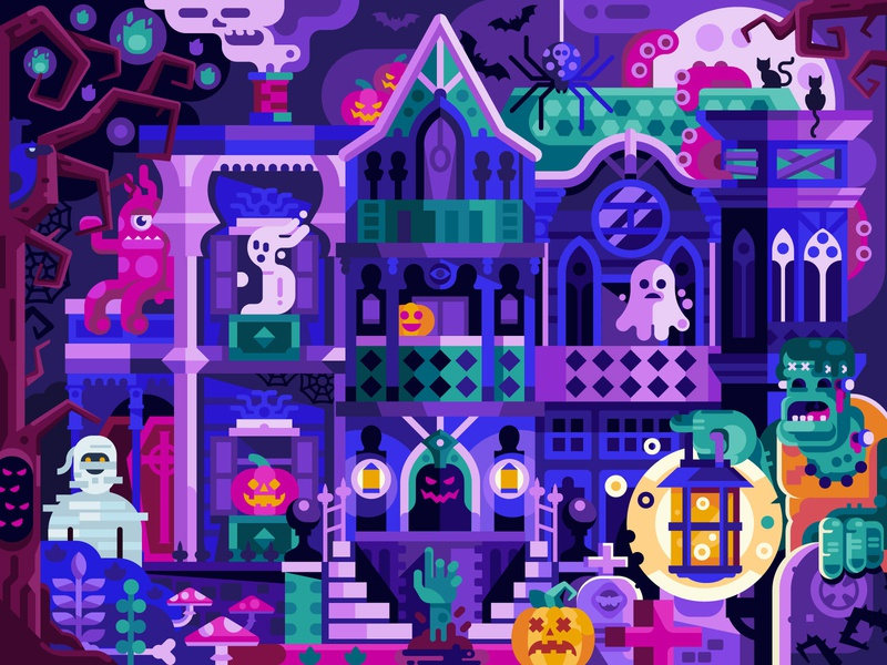 Halloween Party Evil House frankenstein ghosts horror scene coloring book game design mobile game illustration flat design halloween party party creepy haunted house halloween