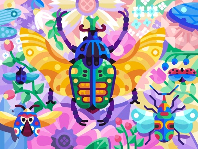 Big Beetles Migration colorful coloring page coloring book mobile game gaming game design goliath flying bird flying insect migration exotic concept illustration flat design beetle bug beetles