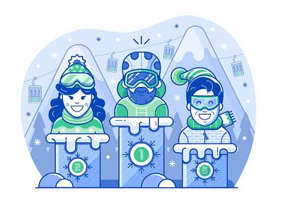 Skier Position and Ranking concept flat design vector illustration app illustration mobile app line art position sports winter resort mountain podium achievements pedestal competition ranking skier skiing