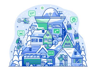 Ski Resort Community Network village shuttle illustration app design line art mobile flat design landscape community network social resort mountain skiing ski resort winter application app