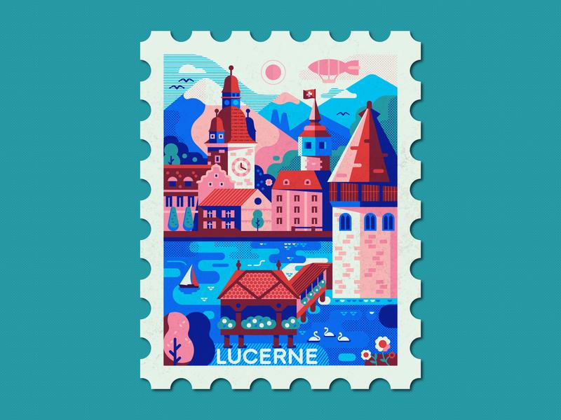 Lucerne and Alps Swiss Travel Stamp old town destination cozy lucerne dribbbleweeklywarmup town design lake vintage illustraion travel stamp design stamp poster flat landscape alps switzerland