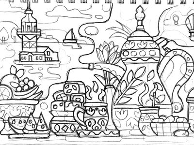Turkish Tea Party flat design coloring page game design mobile game coloring book illustration traditions turkey istanbul leandros tower maiden sweets delights arabic tea pot tea party turkish