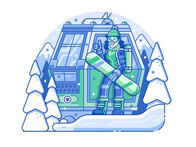 Snowboarding Girl and Ski Lift funicular scene snowboard vectorart illustration acitivity sports winter ski lift ski resort line art flat design woman snowboarder girl snowboarding application app design app