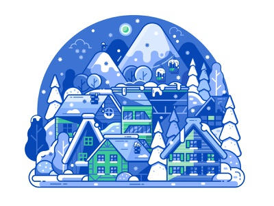 Ski Resort Sleeping by Night snowfall landscape concept app design snowy winter line art mobile no activity silent sleeping illustration mountain night ski resort application app flat design