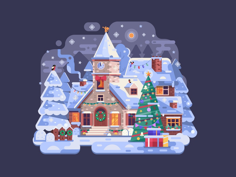 Cozy Christmas Night and Little Church scene landscape flat design illustration winter xmas cozy night village church christmas dribbbleweeklywarmup