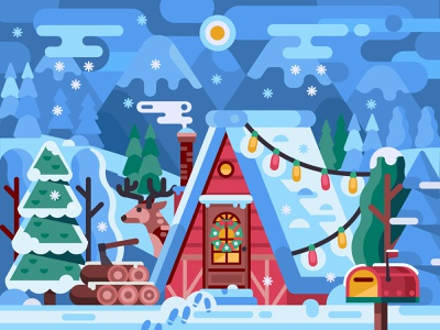 Cozy Winter House vector gaming game design coloring page coloring book xmas woods snowy scene forest lodge cabin home deer alps chalet rural christmas house winter