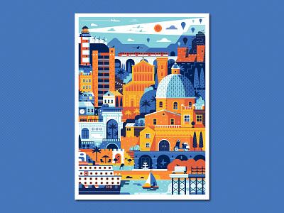 Cagliari Travel Poster poster italian landmarks coast seaside summer travel cruise sea cityscape town mediterranean sardegna sardinia cagliari landscape illustration flat design