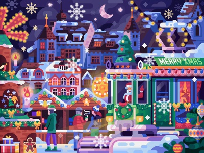 Basel Christmas Market santa scene xmas new year eve switzerland holiday bazaar basel fair market tramway tram christmas concept illustration flat design
