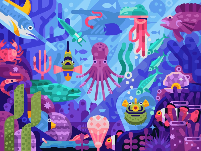 Colorful Life of Coral Reef aquatic gaming concept coloring page game design mobile gaming scene illustration flat design world deep bottom fish creatures animals sea ocean coral reef underwater coral