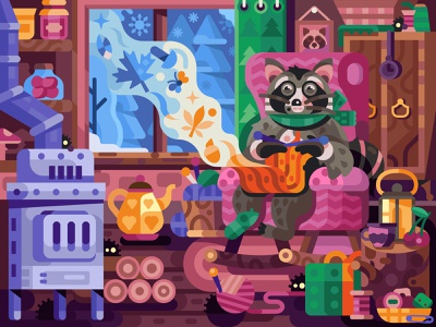 Winter Dreams of Happy Raccoon magic fairytale gaming coloring book coloring page game design cozy lair house animal raccoon knitting dreams winter concept illustration flat design