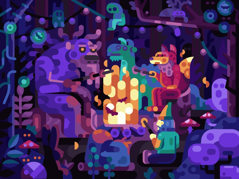 Forest Spirits on Barbecue asian fairytale creatures barbecue camp fire campfire spooks ghost spirit forest illustraion mobile gaming gaming game design coloring page coloring book illustration flat design