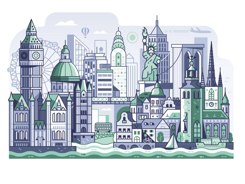 Stockholm, London, New York. travel city guide line landmarks city hall liberty statue cityscape big ben new york london city banner landscape line art concept illustration flat design